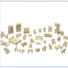 Wooden Doll House Furniture Jigsaw Miniature Models DIY Accessories GT
