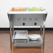 "29"" 2-Pan Restaurant Electric Steam Table Buffet Food Warmer - 120 Volt"