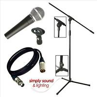 NEW Pulse PM580 Dynamic Vocal Microphone with 4.5m Cable, Boom Mic Stand & Clip