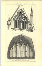 1850 Incisione finestre molte luci NORD E SUD transetto Cattedrale Di Salisbury