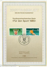 ALLEMAGNE BERLIN, 1985, SPORTS, BASKET, 2 timbres, 691692, DOCUMENT 1° JOUR