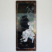 VINTAGE Lackbild Intarsien Holz Lack ASIATIKA Holzplatte 20 x50 cm 60er Asien #2