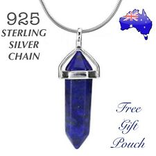 Lapis Lazuli Natural Crystal Point Healing Pendant 925 Sterling Silver Necklace