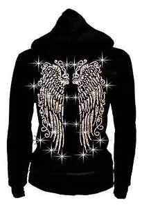 LADY Angel Long Wings Rhinestones Hoodie Sweater Thick Zip-Up