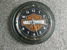 2011 Harley Davidson Motorcycles Metal Bulova Wall Clock, Pre-Owned, Works Great