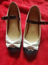 Black and White Mary Jane Lolita Block Heel Bow Shoes, size 6