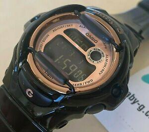 Unused Casio Baby G-Shock BG-169G Black Alarm Chrono Quartz Watch Hours~New Batt
