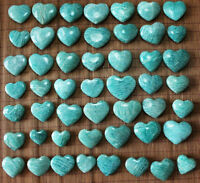 20 Pcs Natural Polished Green Amazonite Crystal Reiki Heart From Madagascar