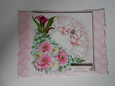 PK 2 PINK FLOWERS FOR SPECIAL OCCASIONS *HAPPY BIRTHDAY* TOPPERS FOR CARDS/CRAFT