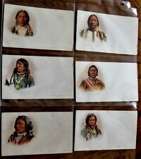 BEAUTIFUL! PRIVATE MAILING CARDS 1898 COMP SET OF 6 INDIAN CHIEFS -APACHE ,UTE