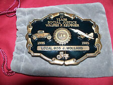 Vintage UAW Union Auto Workers Belt Buckle Walter Reuther Car Automobile Old R&M