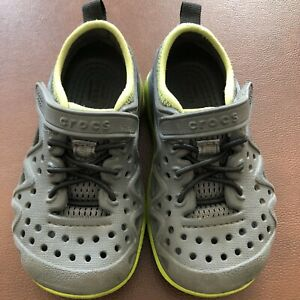 Boys Swiftwater Crocs 8 C Slate Gray and Green Play Sandals