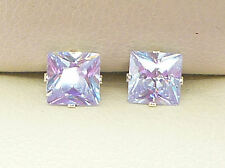 AMETHYST SILVER STUD EARRINGS LAVENDER PRINCESS SQUARE 5mm LAB-CREATED sku1034