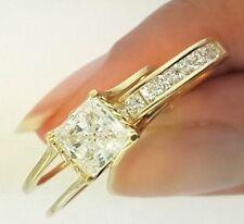2 Ct. Princess Cut 2 Piece Engagement Wedding Ring Band Set 14K Yellow Gold