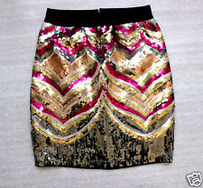 NWT bebe black purple red gold sequin sparkle floral sexy dress skirt XS 0 2 hot