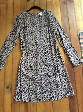 H&M light soft purple leopard gold animal print shift dress long sleeve size 8