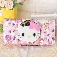 Cute Hello Kitty Wallet with Mirror Bear Flower Long Purse Bag Girls Nice Gift
