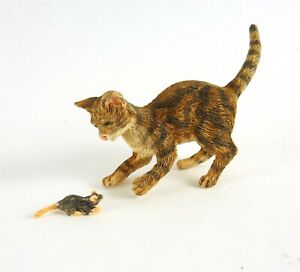 Dollhouse Miniature Cat & Mouse Playing, A3789BR