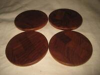 "Set of 4 Dansk Teak Wood 3 3/4"" Coasters Mid Century Danish Modern Design"