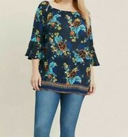 Evans ladies blouse shirt top plus size 14 16 18 20 22 24 26 blue multi floral