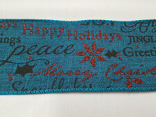 Christmas Ribbon Faux Hessian Greetings Turquoise Wired Edge Width 63mm