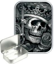 Skull King Small Silver Hinged Gift Tin, 30ml Hinged Tobacco Tin