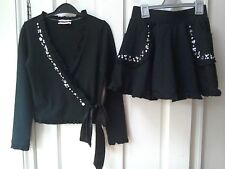 Girls Monnalisa Top & Skirt 12 Years, Black, Designer, Jewelled Party Outfit, VG