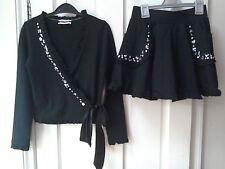 Chicas MONNALISA Top & Skirt 12 años, Negro, diseñador, traje de fiesta empedrado, en muy buena condición