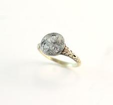 Art Deco 3 Diamond Ring 14k White and Yellow Gold Size 7