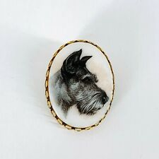 """Vintage Scottish Terrier Scottie Dog Cameo Brooch Pin Gold Tone 1 5/8"""" x 1 1/4"""""""