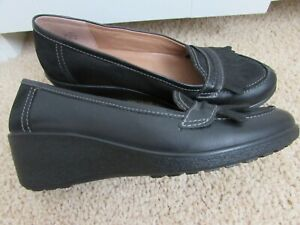 Hotter Kiev Black Leather Shoes Low Wedge Size UK 6.5 EUR 40 US 8.5