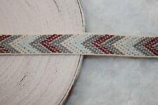 """5 yards maroon burgundy gray cream herringbone woven ribbon trim 1"""" wide"""