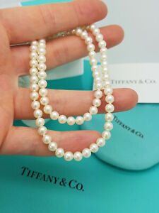 """Tiffany & Co. Ziegfeld Collection 5-6 mm Pearl 16.5"""" Classic Necklace, RRP £600"""