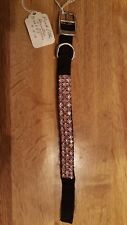 """Pink & White ~ 3 Rows of Crystal Rhinestone Dog or Cat Collar~ 10""""L X  1/2"""" Wide"""
