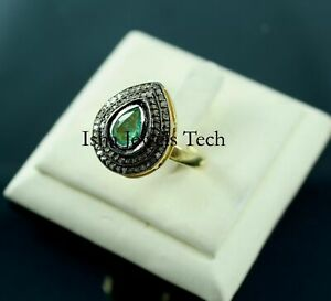 Handmade Natural Rose Cut Diamond & Emerald 925 Sterling Silver Ring Jewelry