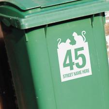 3 x WHEELIE BIN STICKERS - Number and street name. Cat design. Recycle & Garden