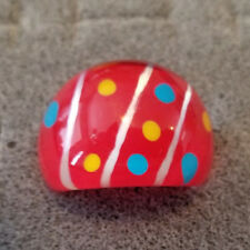 Lucite Red Enamel Polka Dot Ring Size 8.25 Vintage Large Chunky Clear Dome