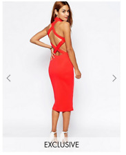 OH MY LOVE CORAL CROSS BACK HALTERNECK MIDI DRESS EXCLUSIVE (SIZE XS) WORN ONCE