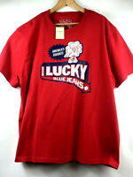 Lucky Brand Dungarees Mens Red Graphic T-shirt Size XL Logo NWT $39.50