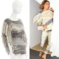 ISABEL MARANT Agora grey knit boho fringe edge tie side poncho sweater FR40 L