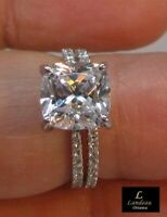 2.6 ct  Cushion Cut Diamond Bridal Engagement & Wedding Set