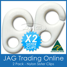 2x WHITE NYLON SISTER CLIPS-Boat/Yacht/Flag/Pennant Staff/Sailing/Marine/Nautica