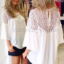 2017 Women Summer Lace Crochet Chiffon Sheer Top Blouse Loose Casual Tee T-Shirt