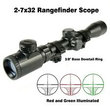 "Red and Green Illuminated 2-7x32 Rangefinder Scope /w 3/8"" Base Dovetail Ring"
