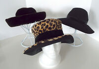 Vintage Floppy Hats Wide Brimmed Velvet Wool Faux Leopard Fur 1940's Deco Lot