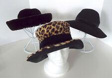 Vintage Floppy Hats Wide Brimmed Velvet Wool Faux Leopard Fur 1940's Deco Lot