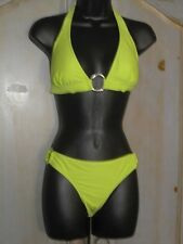 Lime IN GEAR SILVER RINGS Solid HALTER Padded & BIKINI BOTTOM SWIMSUIT SIZE M