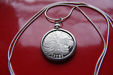 "AFRICAN LION COIN BEZEL Pendant on a 22"" 925 Italy Sterling Silver Snake Chain"