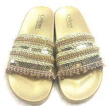 Catherine Catherine Malandrino Sandals Size 8 Chainey Gold Bronze Roped Slides