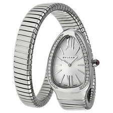 Bvlgari Serpenti Diamond Silver Dial Stainless Steel Ladies Watch SP35C6SDS.1T